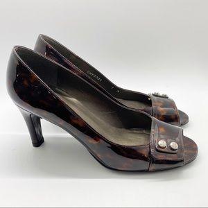 Stuart Weitzman Brown Tortoise Patent Leather Heel